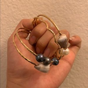 Jewelry - Hokuao Creations Gold Shell Bangels